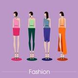 Дизайн комплекта и вектора моды иллюстрация Бесплатная Иллюстрация
