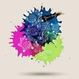 Дизайн конспекта акварели вектора с doodle Стоковое Изображение