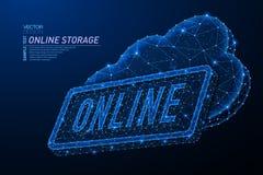 Дизайн конспекта полигональный светлый слова хранения облака онлайн стоковые фото