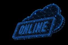 Дизайн конспекта полигональный светлый слова хранения облака онлайн стоковое изображение rf