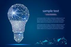 Дизайн конспекта электрической лампочки, в низком поли стиле, в форме линий и звезд на голубой предпосылке Стоковое Изображение RF