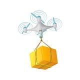 Дизайн концепции поставки трутня Современная иллюстрация вектора шаржа Стоковая Фотография RF