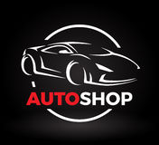 Дизайн концепции супер логотипа автоматического магазина автомобиля корабля спорт Стоковое Изображение RF