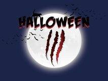 Дизайн кота луны хеллоуина и плаката летучих мышей Стоковые Изображения