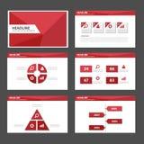 Дизайн красного шаблона вебсайта листовки рогульки брошюры представления полигона универсального infographic плоский Стоковое Изображение