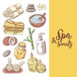 Дизайн красоты здоровья курорта нарисованный рукой Комплект элементов здоровья ароматерапии Обработка кожи Стоковая Фотография RF