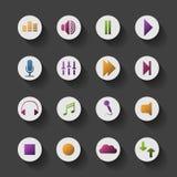 Дизайн красочного значка средств массовой информации родственного установленный Стоковые Фото