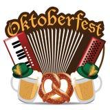 Дизайн кренделя пива аккордеона Oktoberfest Стоковые Изображения RF