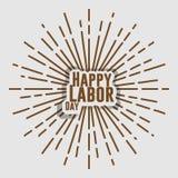 Дизайн круга солнца оформления текста Дня Трудаа ретро винтажный Стоковые Изображения