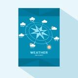 Дизайн крышки брошюры плоский с ветром розовым и значками погоды Стоковые Изображения