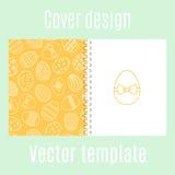 Дизайн крышки с картиной пасхальных яя иллюстрация вектора