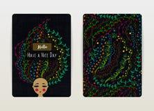 Дизайн крышки с цветочным узором Цветки нарисованные рукой творческие флористические волосы девушки Женщина с цветками в голове иллюстрация вектора