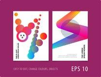 Дизайн крышки шаблона брошюры мягкой Красочный современный комплект конспекта, годовой отчет с формами для клеймить стоковое изображение rf