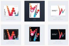 Дизайн крышки шаблона брошюры мягкой Красочный современный комплект конспекта, годовой отчет с формами для клеймить стоковое изображение