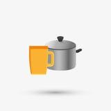 Дизайн кухни Поставляет значок белая предпосылка, иллюстрация вектора Стоковые Изображения RF