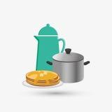 Дизайн кухни Поставляет значок белая предпосылка, иллюстрация вектора Стоковое фото RF