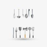 Дизайн кухни Поставляет значок белая предпосылка, иллюстрация вектора Стоковое Изображение RF