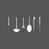 Дизайн кухни Поставляет значок белая предпосылка, иллюстрация вектора Стоковые Изображения