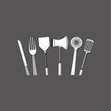 Дизайн кухни Поставляет значок белая предпосылка, иллюстрация вектора Стоковые Фотографии RF