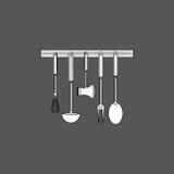 Дизайн кухни Поставляет значок белая предпосылка, иллюстрация вектора Стоковое Изображение