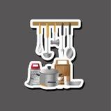 Дизайн кухни Поставляет значок белая предпосылка, иллюстрация вектора Стоковая Фотография
