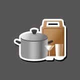Дизайн кухни Поставляет значок белая предпосылка, иллюстрация вектора Стоковое Фото