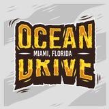 Дизайн лета Miami Beach Флориды привода океана типографский Стоковые Фото