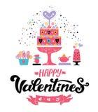 Дизайн литерности счастливой руки дня Святого Валентина вычерченный бесплатная иллюстрация