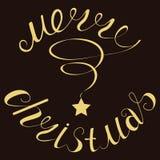 Дизайн литерности с Рождеством Христовым золота блестящий вектор экрана иллюстрации 10 eps иллюстрация штока