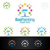 Дизайн логотипа вектора картины Eco Стоковое Изображение