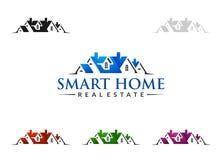 Дизайн логотипа вектора недвижимости, абстрактное здание и дом с линией формой представили уникально, сильный и современный логот Стоковая Фотография RF