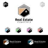Дизайн логотипа вектора недвижимости, абстрактное здание и дом с линией формой представили уникально, сильный и современный логот Стоковое фото RF