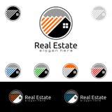 Дизайн логотипа вектора недвижимости, абстрактное здание и дом с линией формой представили уникально, сильный и современный логот Стоковая Фотография