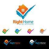 Дизайн логотипа вектора недвижимости, абстрактное здание и дом с линией формой представили уникально, сильный и современный логот Стоковые Фото