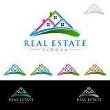 Дизайн логотипа вектора недвижимости, абстрактное здание и дом с линией формой представили уникально, сильный и современный логот Стоковое Изображение