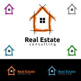 Дизайн логотипа вектора недвижимости, абстрактное здание и дом с линией формой представили уникально, сильный и современный логот Стоковое Изображение RF