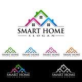 Дизайн логотипа вектора недвижимости, абстрактное здание и дом с линией формой представили уникально, сильный и современный логот Стоковые Изображения RF