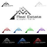 Дизайн логотипа вектора недвижимости, абстрактное здание и дом с линией формой представили уникально, сильный и современный логот Стоковые Изображения