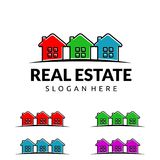 Дизайн логотипа вектора недвижимости с уникально домом Стоковые Изображения