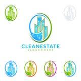 Дизайн логотипа вектора обслуживания чистки домашний, Eco дружелюбное с сияющим веником и концепцией круга Стоковая Фотография