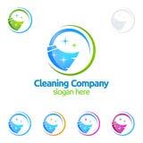 Дизайн логотипа вектора уборки, Eco дружелюбное с сияющим веником и концепция круга изолированная на белой предпосылке Стоковое Изображение RF