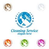 Дизайн логотипа вектора чистки дома, Eco дружелюбное при сияющая концепция брызга изолированная на белой предпосылке Стоковое Изображение RF