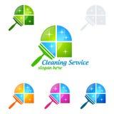 Дизайн логотипа вектора чистки дома, Eco дружелюбное при сияющая концепция брызга изолированная на белой предпосылке Стоковые Изображения