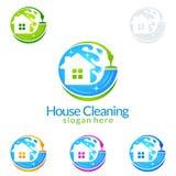 Дизайн логотипа вектора чистки дома, Eco дружелюбное при сияющая концепция брызга изолированная на белой предпосылке Стоковая Фотография RF