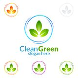 Дизайн логотипа вектора чистки дома, Eco дружелюбное при сияющая концепция брызга изолированная на белой предпосылке Стоковое фото RF