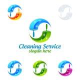 Дизайн логотипа вектора чистки дома, Eco дружелюбное с сияющей стеклянной щеткой и концепция брызга изолированная на белой предпо Стоковые Фото