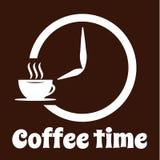 Дизайн логотипа времени кофе Белый значок чашки, знак времени и простой текст на предпосылке темного коричневого цвета Кафе, кофе иллюстрация вектора