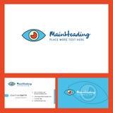 Дизайн логотипа глаза со слоганом & фронтом и задним шаблоном карты Busienss Дизайн вектора творческий иллюстрация вектора