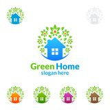 Дизайн логотипа зеленые домашние логотип, вектор недвижимости с домом, лист и экологичность формируют Стоковые Изображения RF