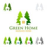 Дизайн логотипа зеленые домашние логотип, вектор недвижимости с домом, лист и экологичность формируют Стоковое Изображение